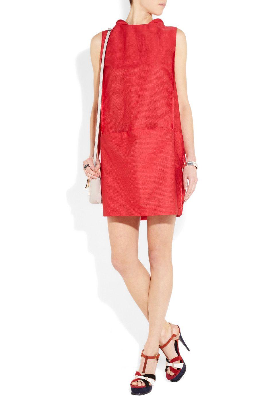 Tomato Red Jacquard Cocoon Mini Dress Victoria Victoria Beckham Cute Red Dresses Fashion Victoria Dress [ 1380 x 920 Pixel ]
