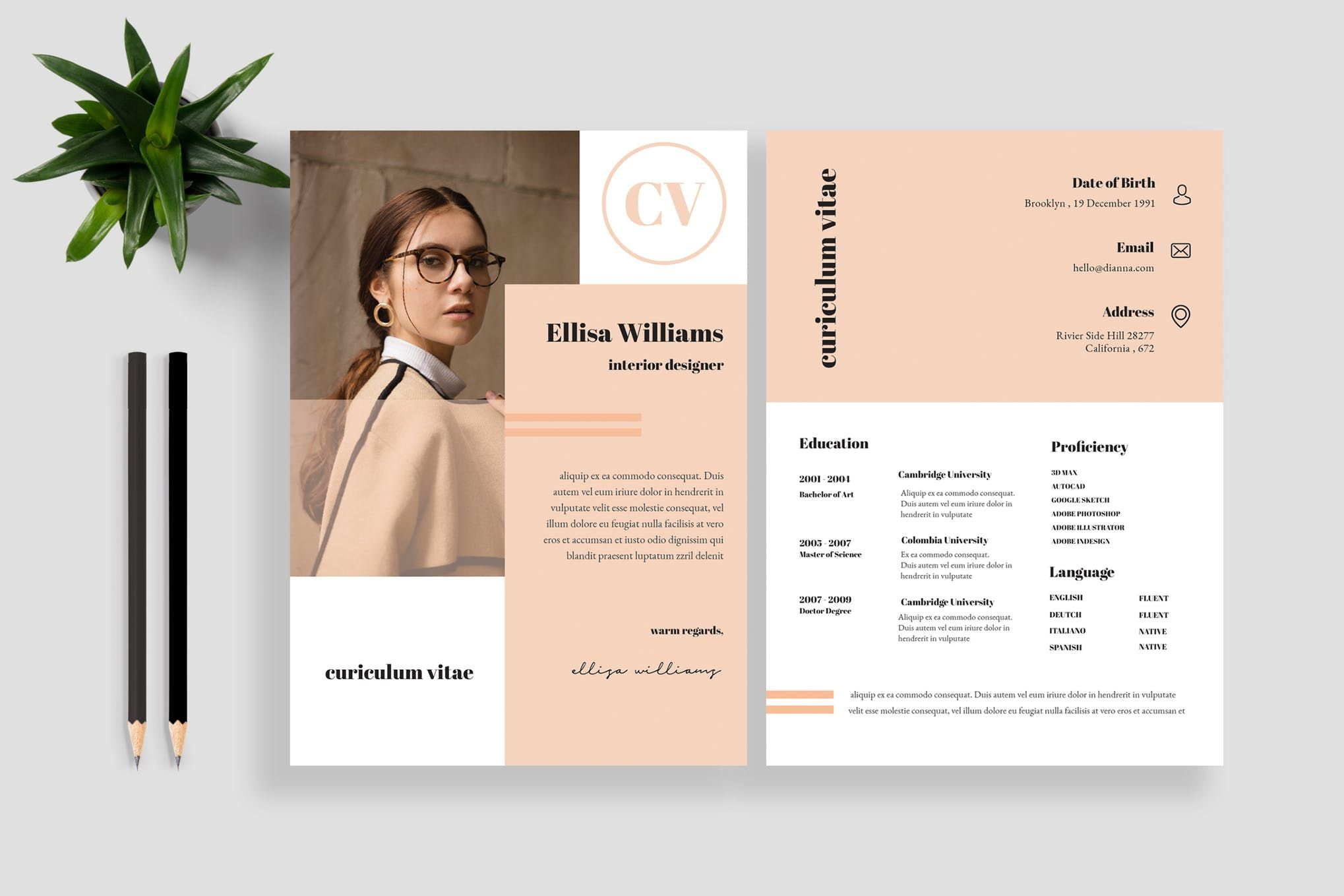 Clean Resume Cv Template 11 By Tmint On Envato Elements Graphic Design Resume Resume Design Creative Resume Design