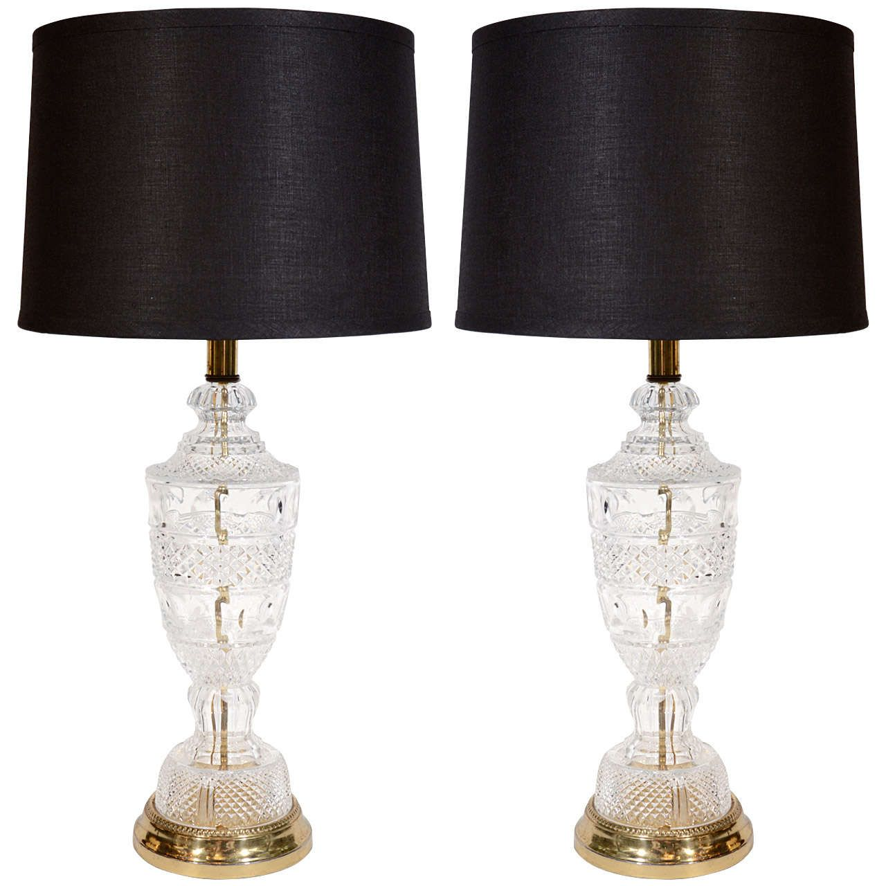 Pair Of Hollywood Regency Cut Crystal Lamps In The Style Of Baccarat 1