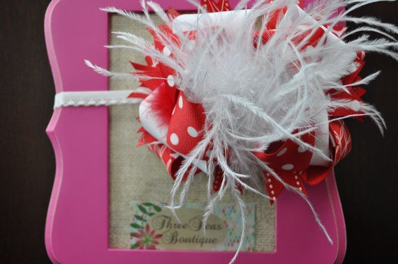 Red and White OverTheTop BowHeadband Included by threepeasboutique, $16.50