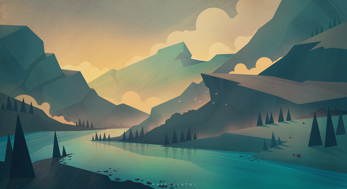 Bg Illustration On Behance Desktop Wallpaper Art Fantasy Art Landscapes Minimalist Painting