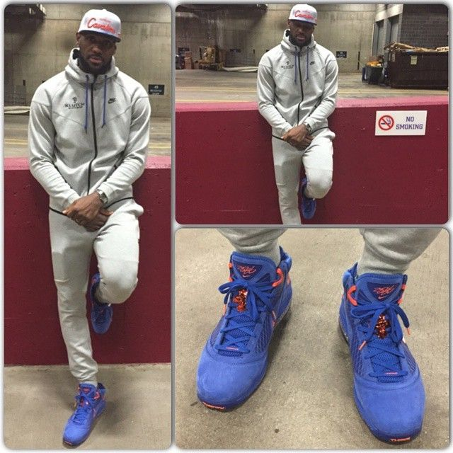 Lebron James-Post game chill mode! Klutch Nike Sweatsuite, Just Don  Throwback Cavs