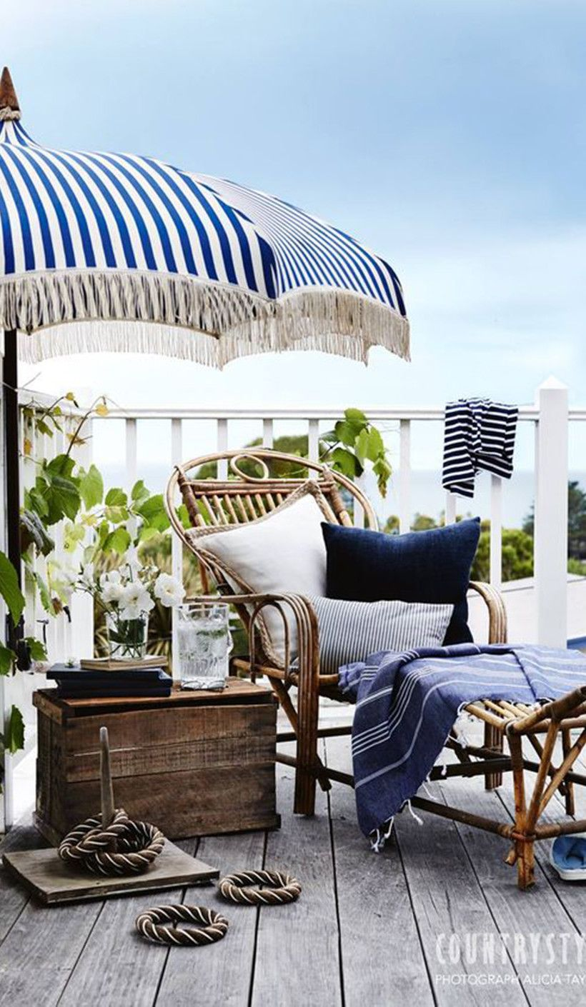 Style Inspiration Nautical Stripes Amp The South Of France Beach House Decor Patio Umbrellas