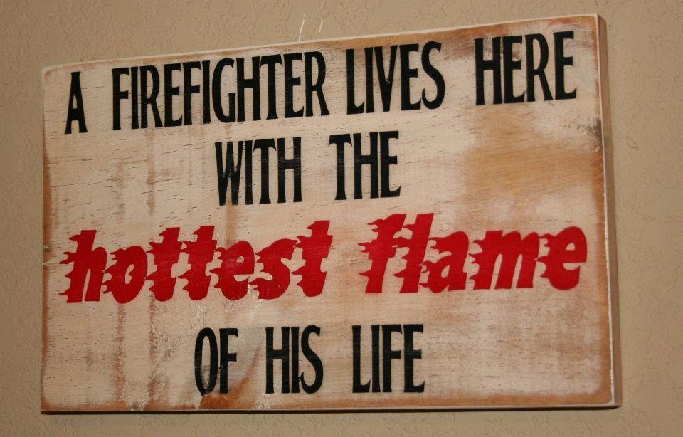 Firefighter Wife Wall Art, Firefighter Decor, Distressed Wall Decor, Custom  Wood Sign, Firefighter   A Firefighter Lives Here