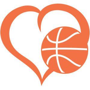 basketball heart silhouette design silhouettes and store rh pinterest com Basketball Black and White Heart heart shaped basketball clip art