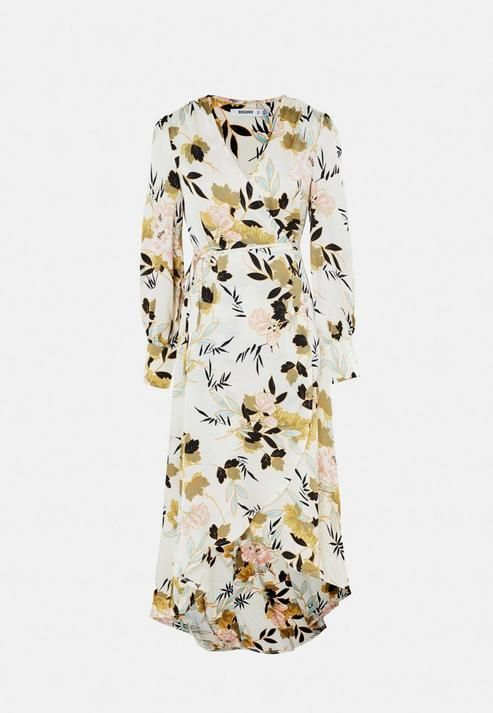 Missguided - White Floral Print Puff Sleeve High Low Satin Midi Dress