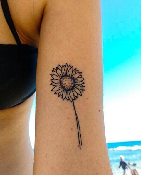 Minimalist Sunflower Tattoo By Mandah Arts Healed Hearttattoo Sunflower Tattoos Tattoos For Women Minimalist Tattoo