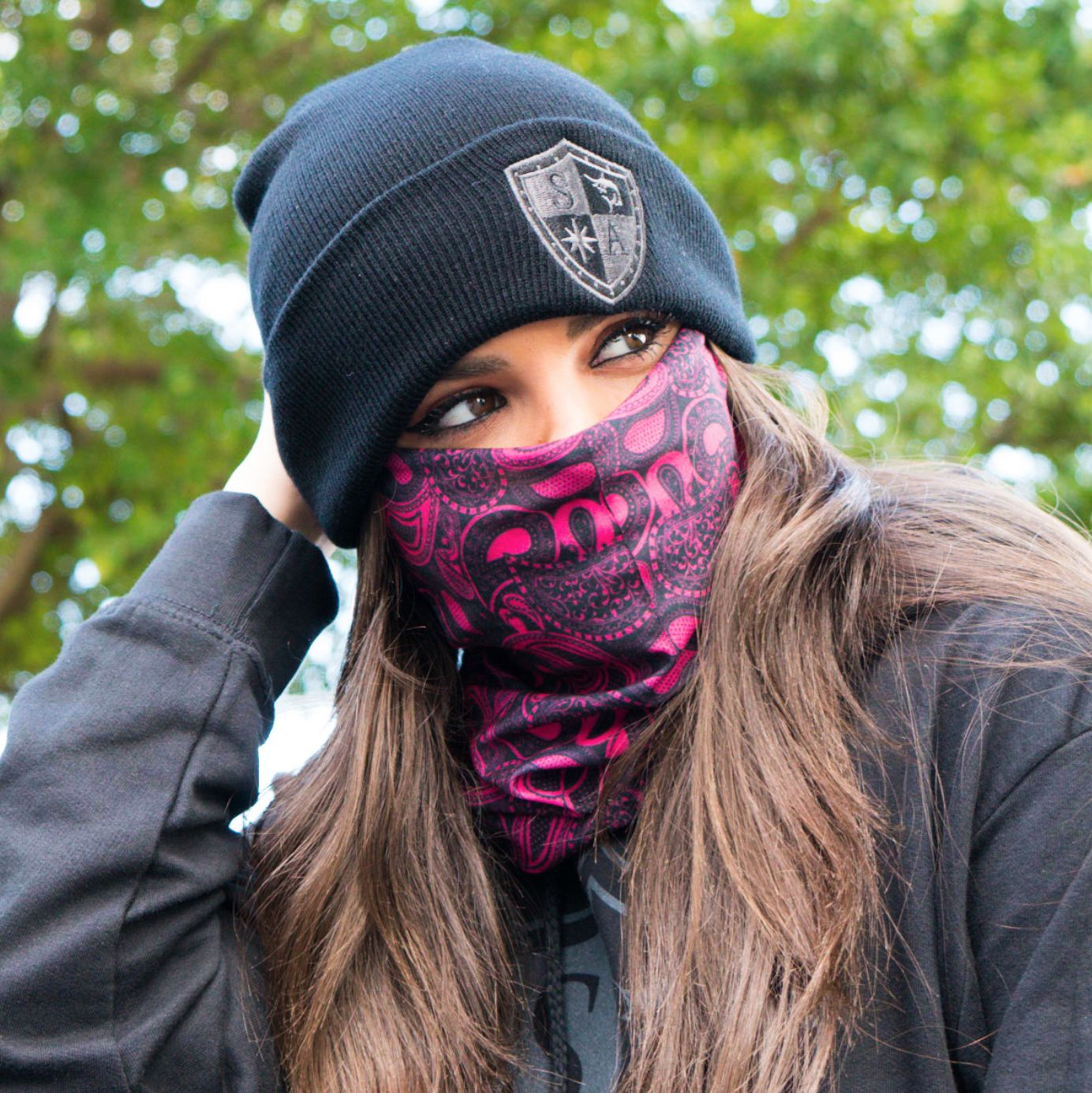 SA Co Pink Crow Face Mask Neck Shield Seamless Bandana Motorbike Tube