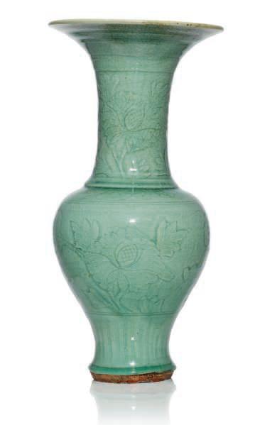 A Longquan Celadon Glazed Phoenix Tail Vase Ming Dynasty 15th