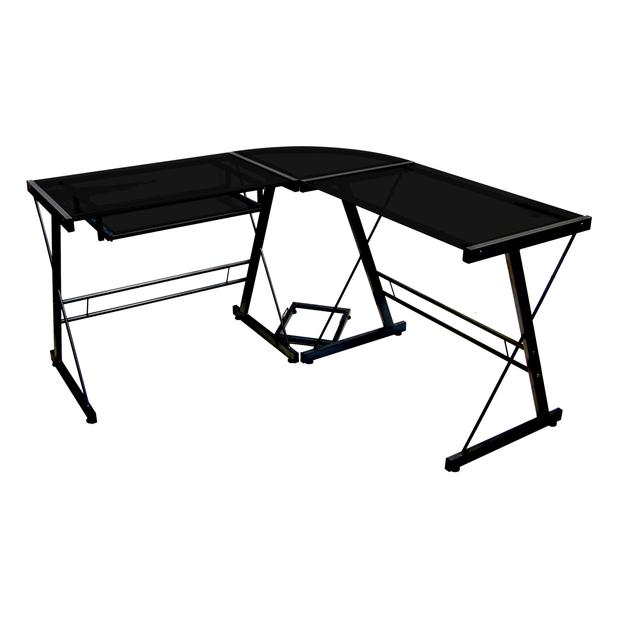 Glass L Shaped Computer Desk With Keyboard Tray Black Saracina Home Desk With Keyboard Tray Glass Computer Desks Computer Desk
