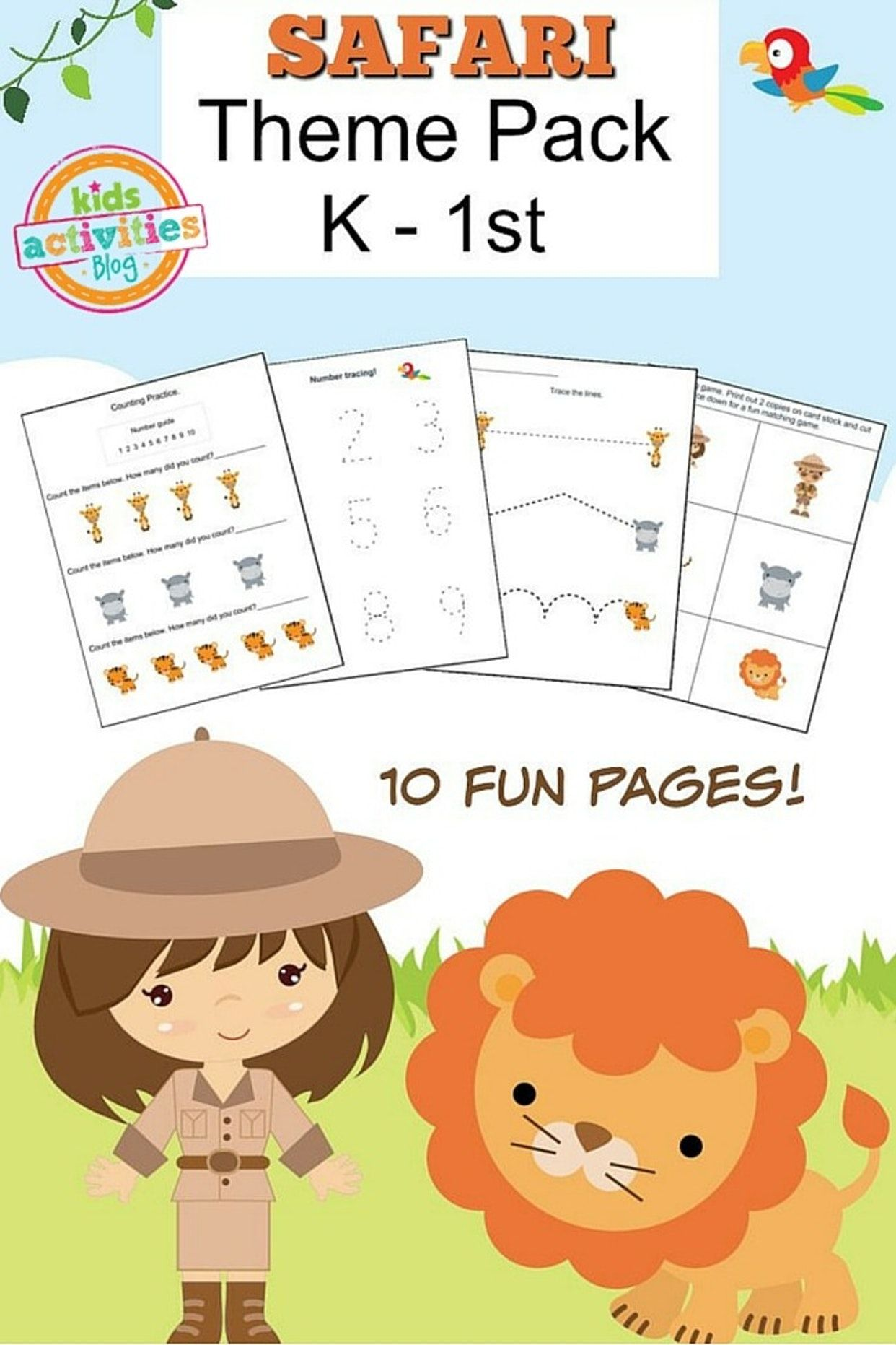 Safari Printable Kindergarten Worksheet Pack