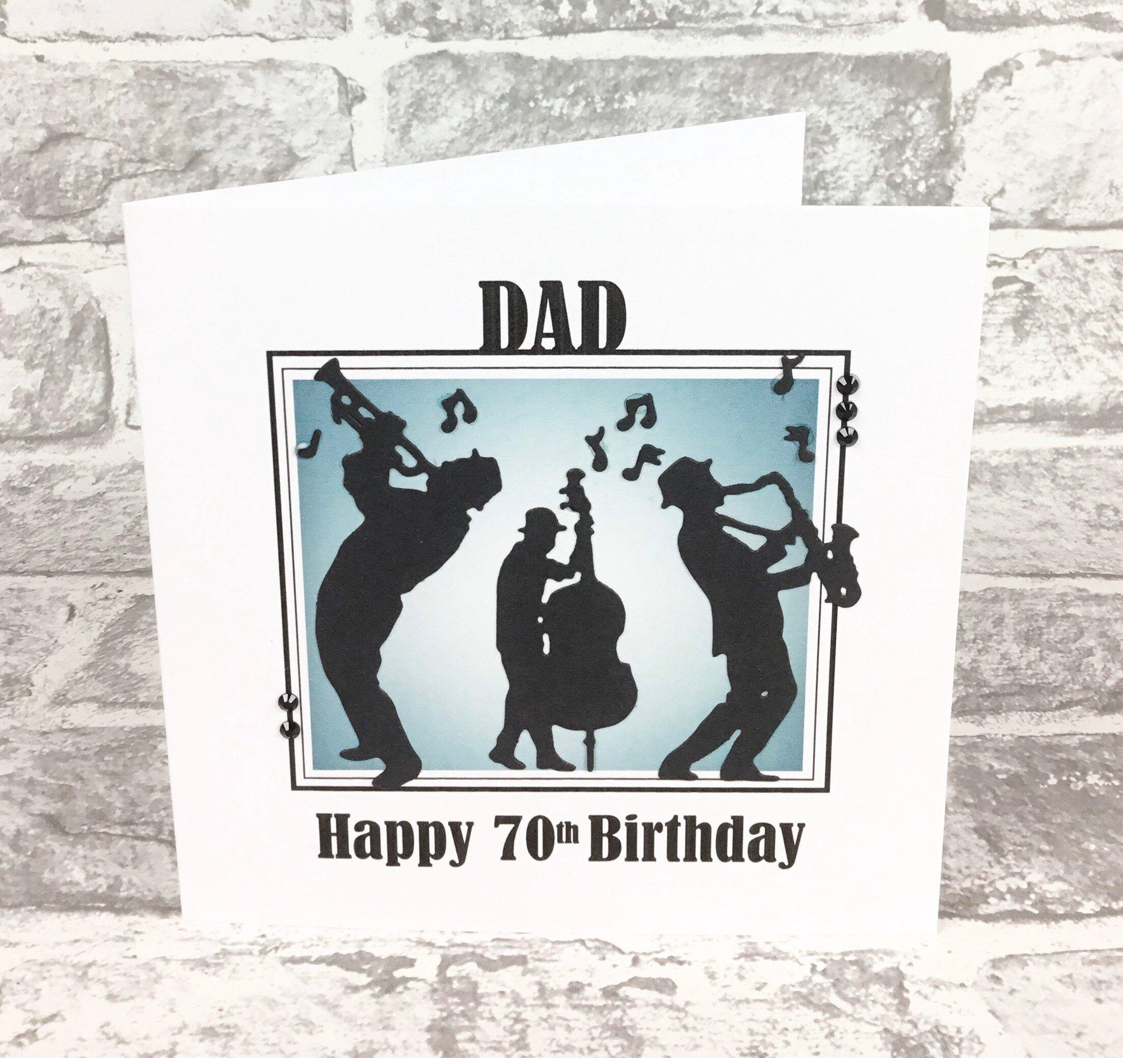 Jazz Band Birthday Card Dad 70th Birthday Personalised Etsy Dad Birthday Card Birthday Cards 70th Birthday Card