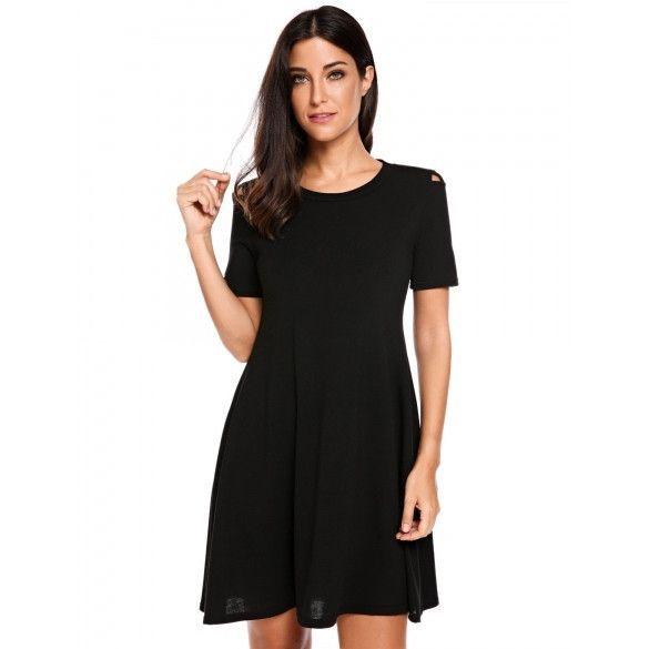 Women Short Sleeve Cut Out Shoulder Casual A-Line Dress
