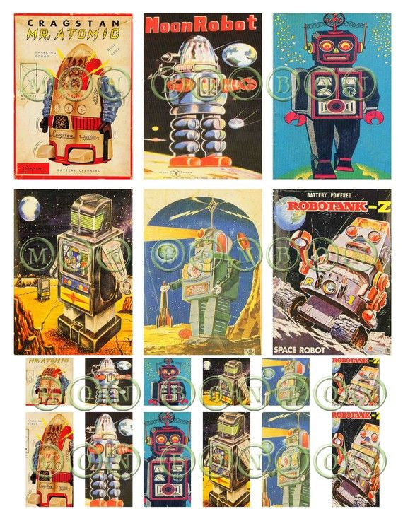 Vintage Sci Fi Retro Robots No 2 Digital Download Collage Sheet 1x 1x2 And Atc Sized DIY You Print