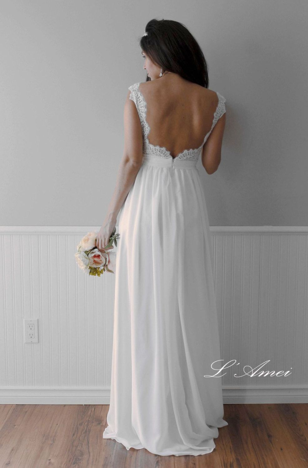 Romantic backless boho lace wedding dress great for outdoors or