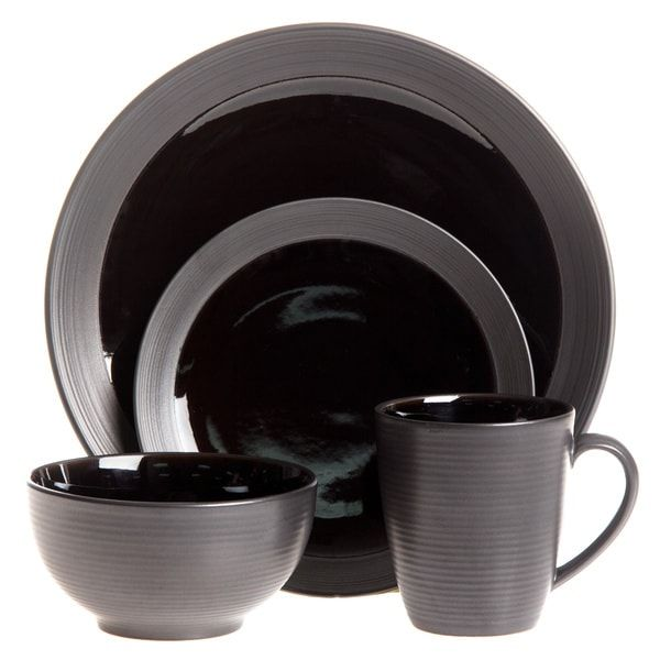 Sango 40-piece Bistro Black Stoneware Dinnerware Set - Overstock Shopping - Great Deals on  sc 1 st  Pinterest & Sango 40-piece Bistro Black Stoneware Dinnerware Set - Overstock ...