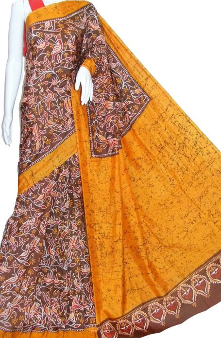 Brown Hand Batik Pure Silk Saree