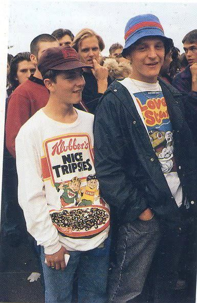 Showing people wearing the products while doing things in for Acid house 90s