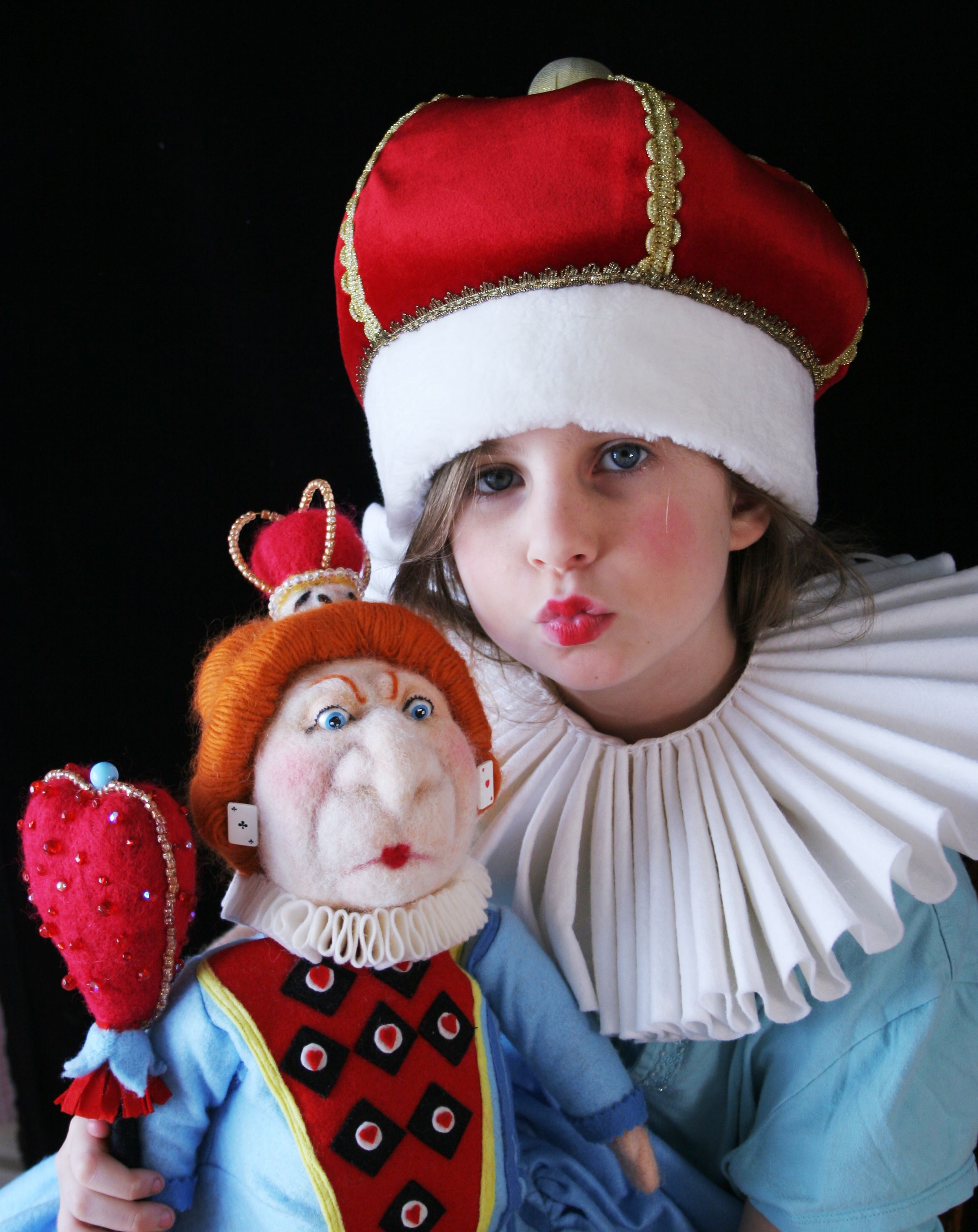 Emili and the needle felted Queen of Hearts by Laura Lee Burch