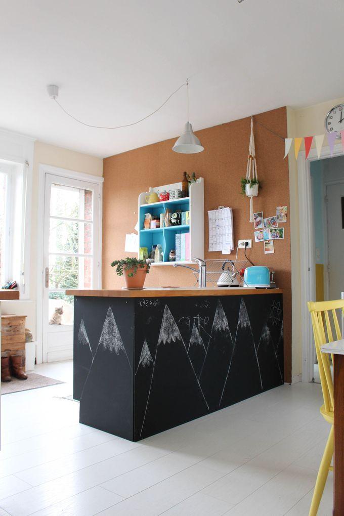 Un Mur En Liege Avant Apres Deco Cuisine Grise Idee Deco Cuisine Et Peinture Meuble Cuisine