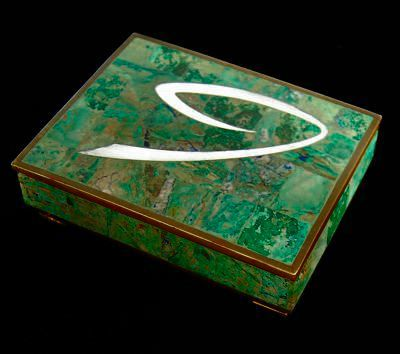 Sigi Pineda malachite box w/ inlaid silver and brass VandM