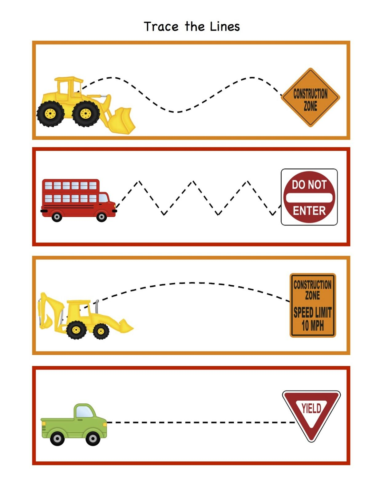Traffic Signs Worksheets Preschool Trace the lines