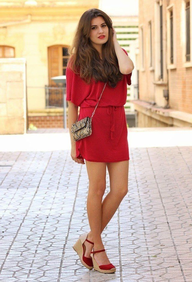 c2cfdf3fc  roressclothes closet ideas  women fashion Red Dress and Wedges