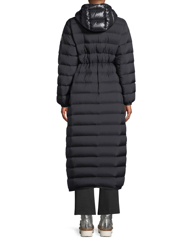 Moncler Grue Long Puffer Coat w Contrast Hood in 2019