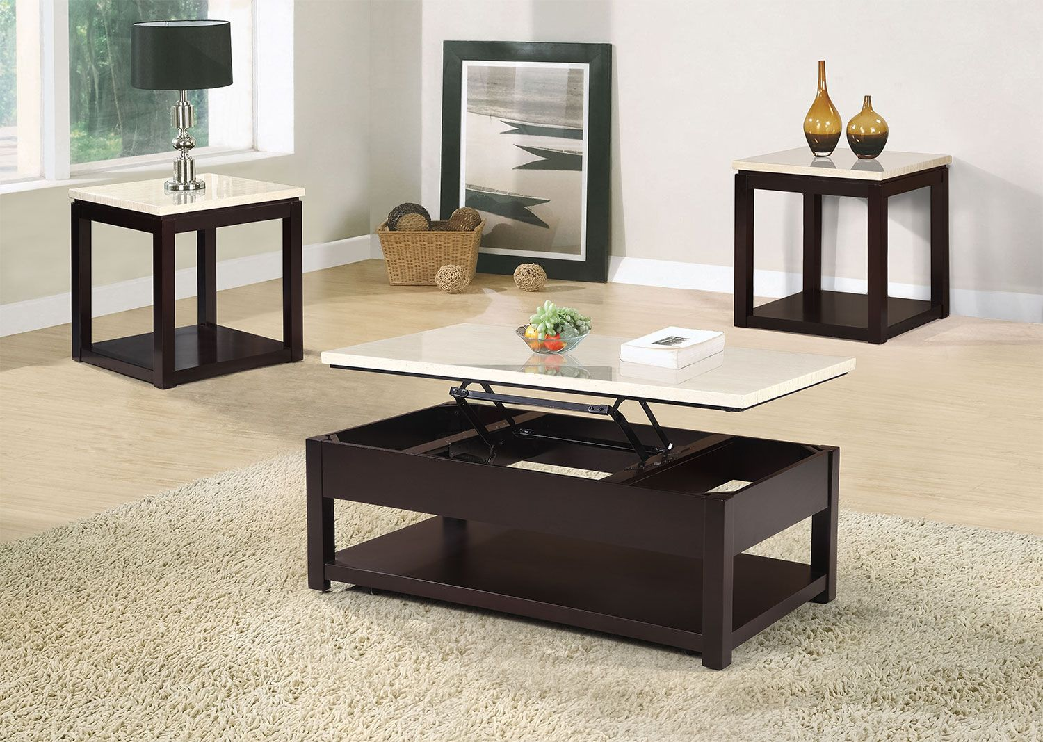 Enrich Your Home With This Fabulous And Functional Sicily Coffee Table Finished In Black And Featuring A Faux Marble Tablet Coffee Table Table Youth Furniture [ 1067 x 1500 Pixel ]