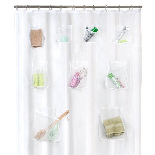 Amazon Com Maytex Mesh Pockets Peva Shower Curtain Clear