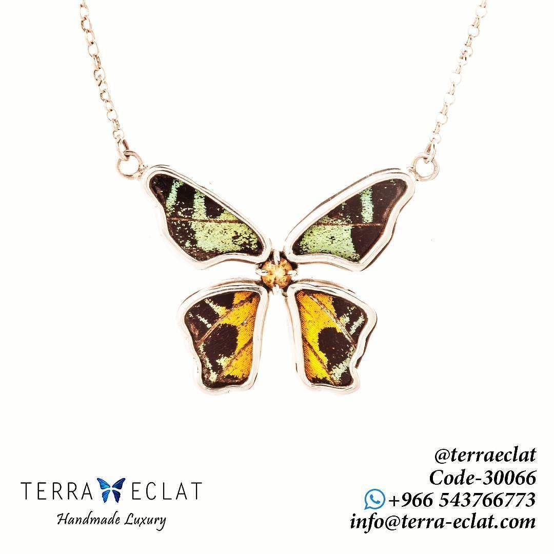 سلسال فراشة كاملة من أجنحت الفراشات الحقيقية جمعية من أمريكا الجنوبية لإنقاذ الغابات 30066 Natural Butterfly Wing Necklaces Sunset Moth Butterfly 27mm X 25mm C