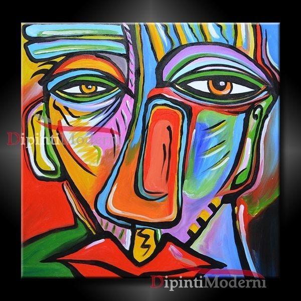 Quadro Moderno Dipinto A Mano Stile Picasso Con Volto Astratto Misura Standard 60x60 Cm Unico Nel Suo Genere Molto Colorato E Or Arte Virtuale Astratto Arte
