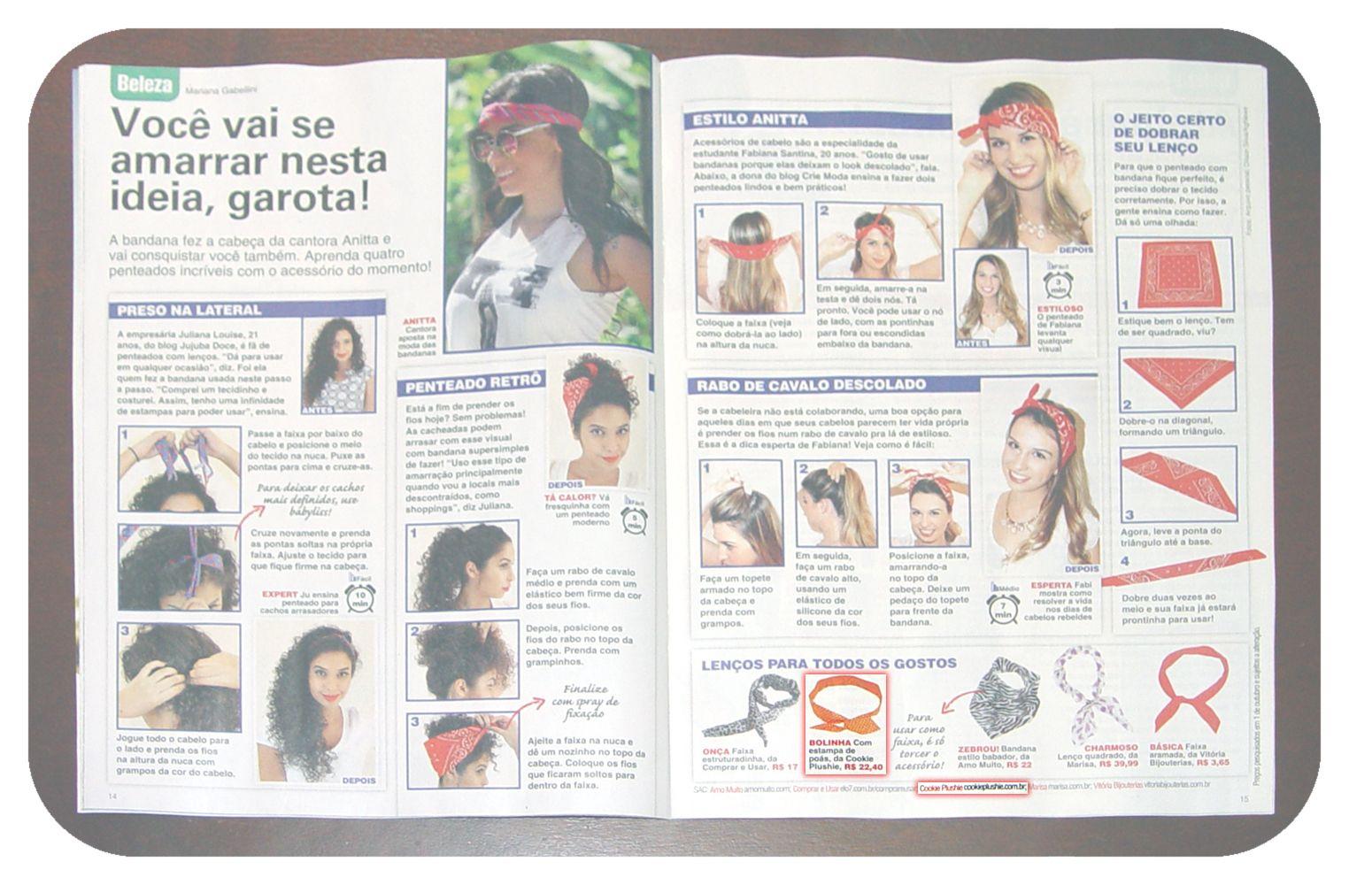 Revista Viva! Mais - edição 732. Com Dolly Bow da Cookie Plushie na matéria sobre bandanas.