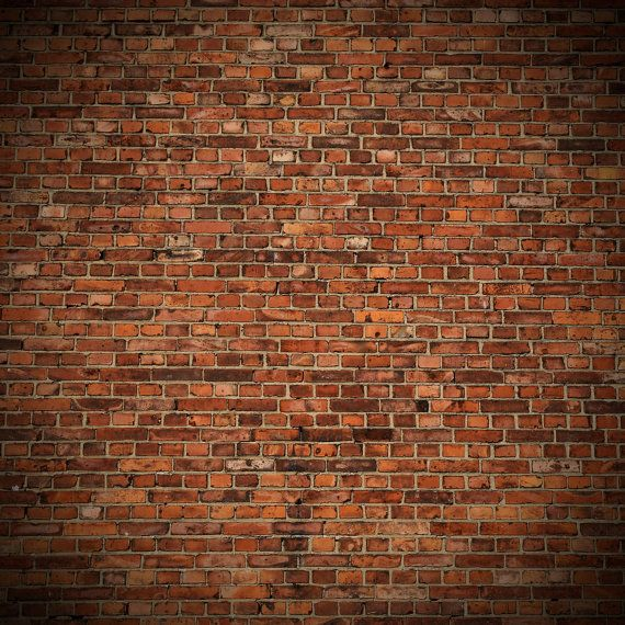 Old Red Brick Backdrop Weathered Rustic Brick Wall Printed