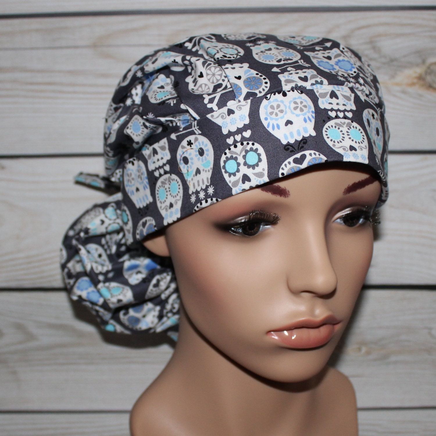 2bfbfe2714a Ponytail Surgical Scrub Hat with fabric tie