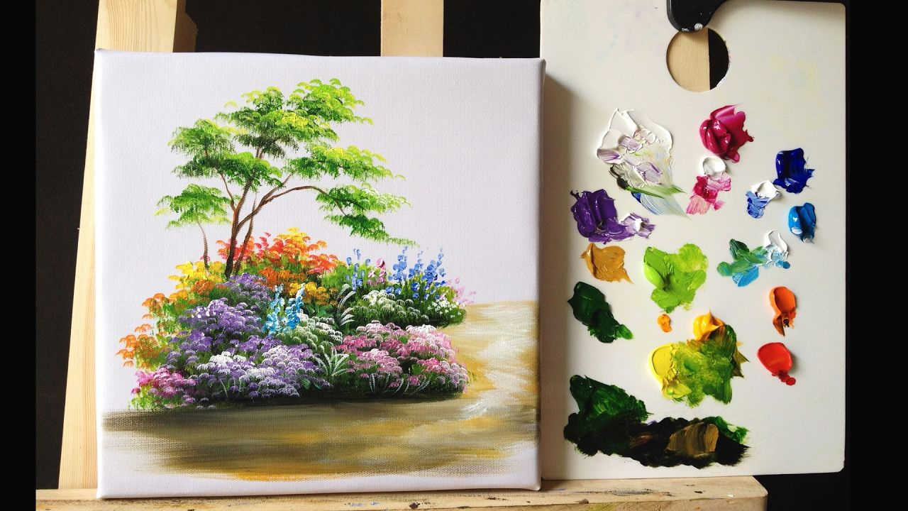 How To Paint Bushes Flowers Lesson 1 Flower Drawing Flower