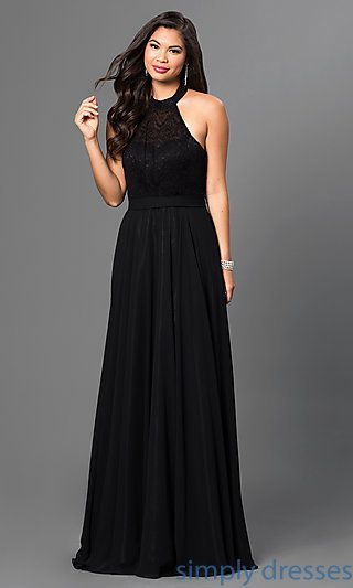 e6a899fe55d Floor Length Halter Top Dress in Black