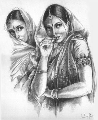 Pencil drawing the stranger oil painting watercolor indian art