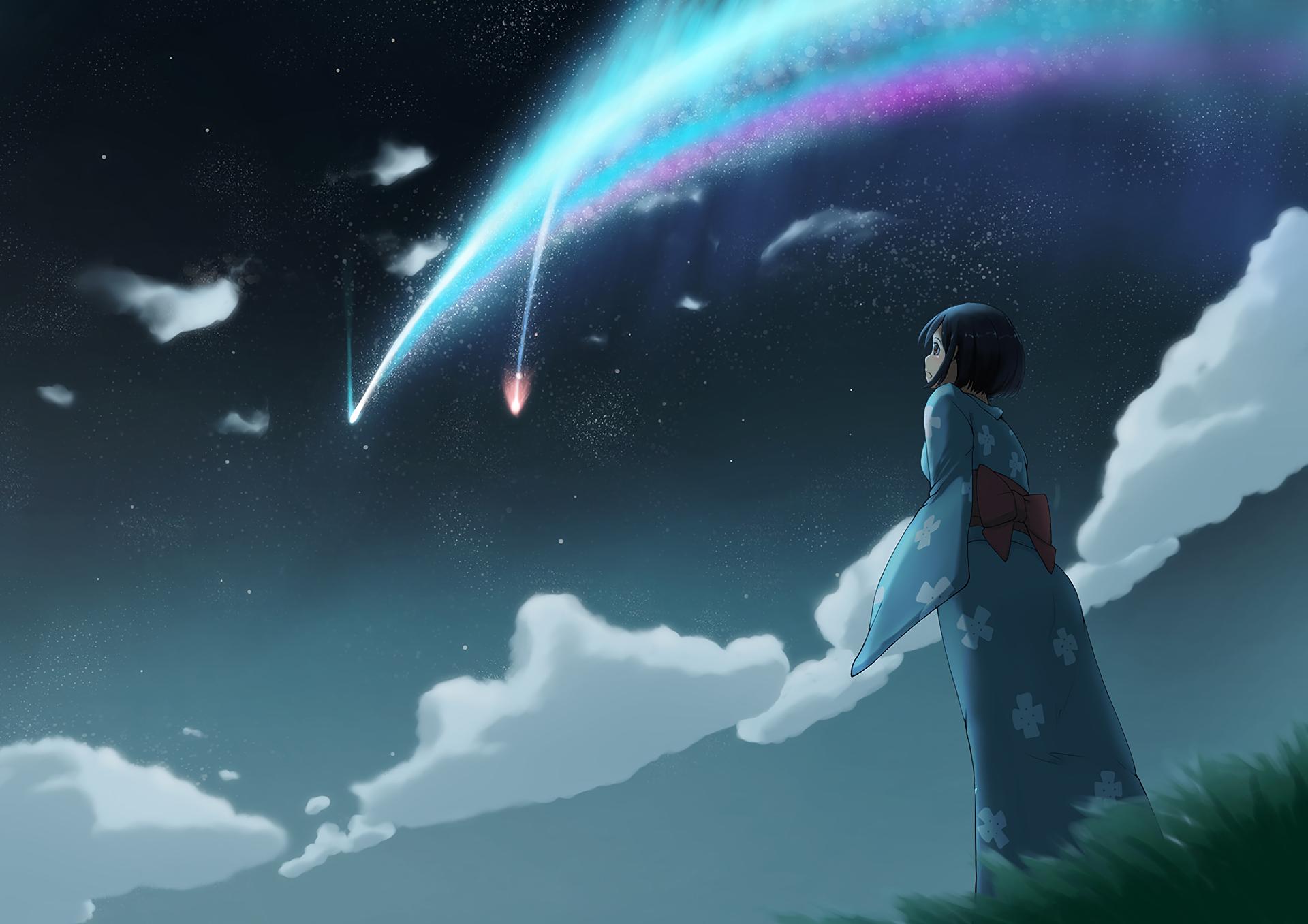 Anime Your Name. Mitsuha Miyamizu Kimi No Na Wa. Fondo de
