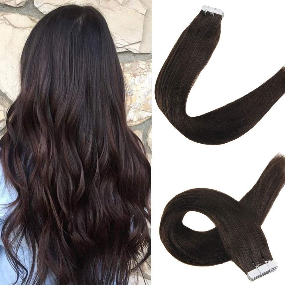 Tape in Hair #humanhairextensions Tape In Hair Extensions 100% Remy Human Hair Solid Color #2 Darkest Brown #humanhairextensions