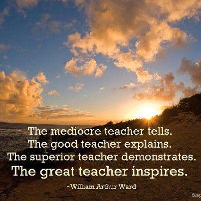 The mediocre teacher tells. The good teacher explains. The superior teacher demonstrates. The great teacher inspires. ~William Arthur Ward  - From http://www.simplyspiritualliving.org/simply/the-great-teacher-inspires/