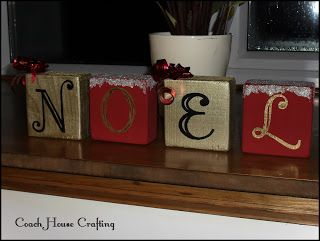 8x Diy Kerstdecoratie : Wooden blocks scrapwood noel painted blocks christmas diy