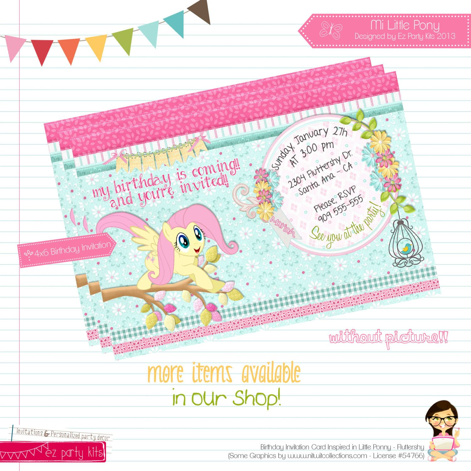 "Birthday Invitation Card ""My Little Pony Fluttershy"" Printable"