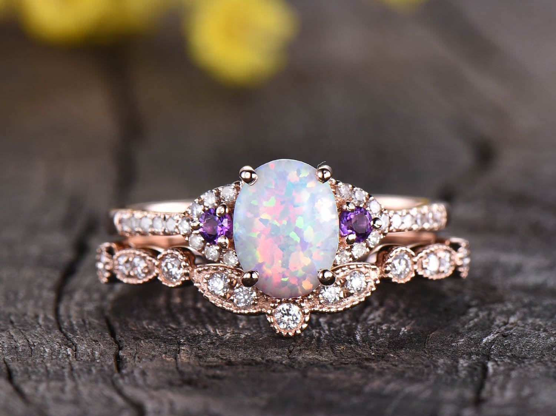 Opal engagement ring rose gold set,Amethyst diamon