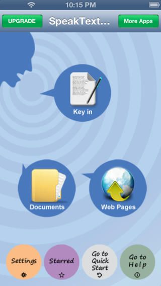SpeakText FREE - Speak & Translate Text Documents and Web pages  Touch text documents and web pages, copy & paste, key in, then it will spea...