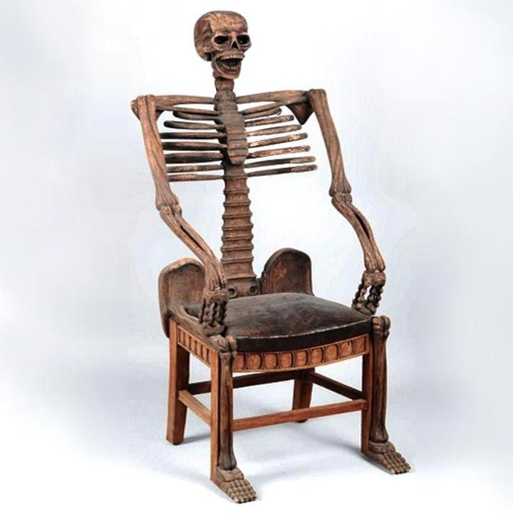 Hand Carved Skeleton Chair, Vincent Price