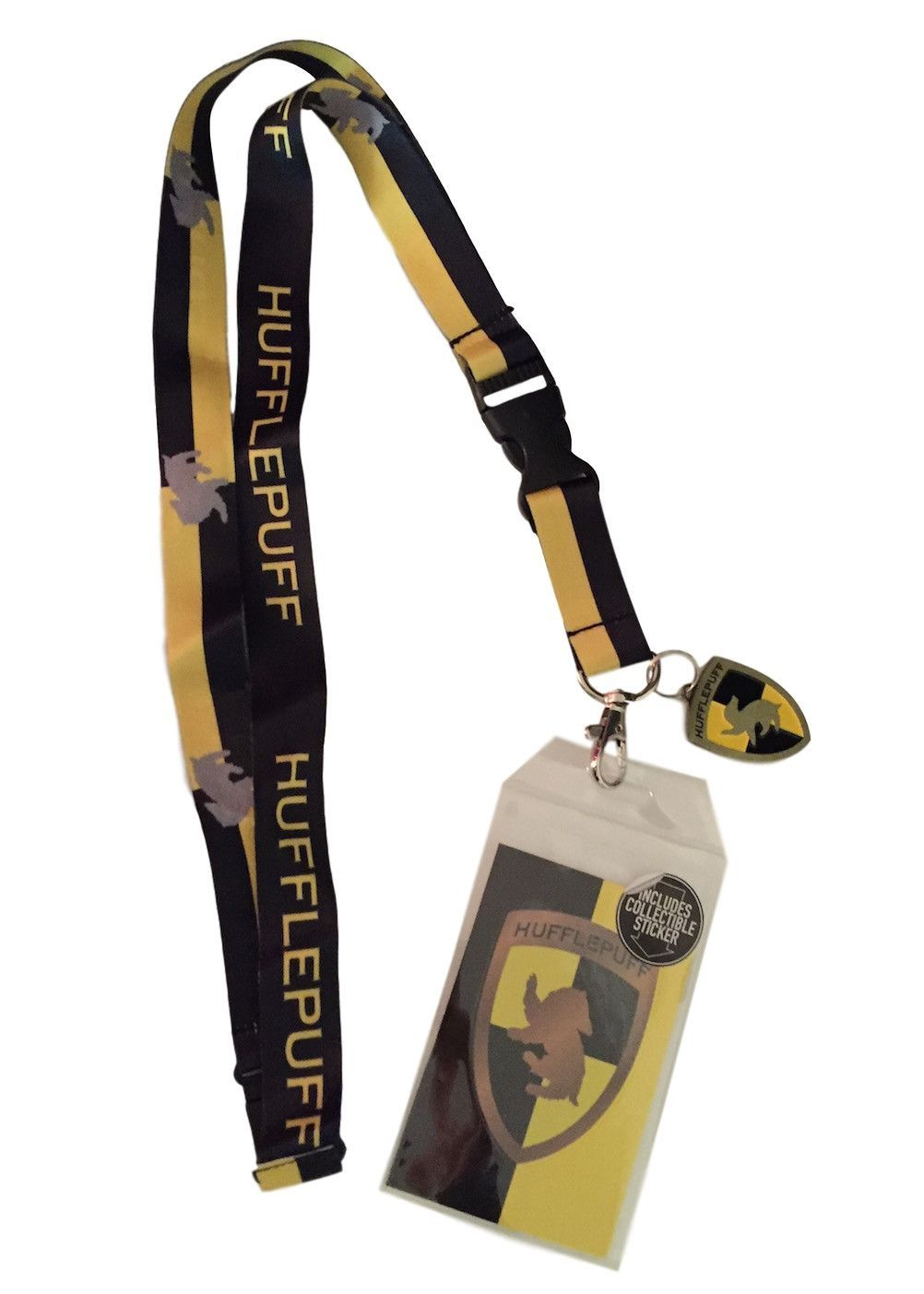 Harry Potter Hufflepuff Doublesided Lanyard Keychain ID Holder & Charm & Sticker