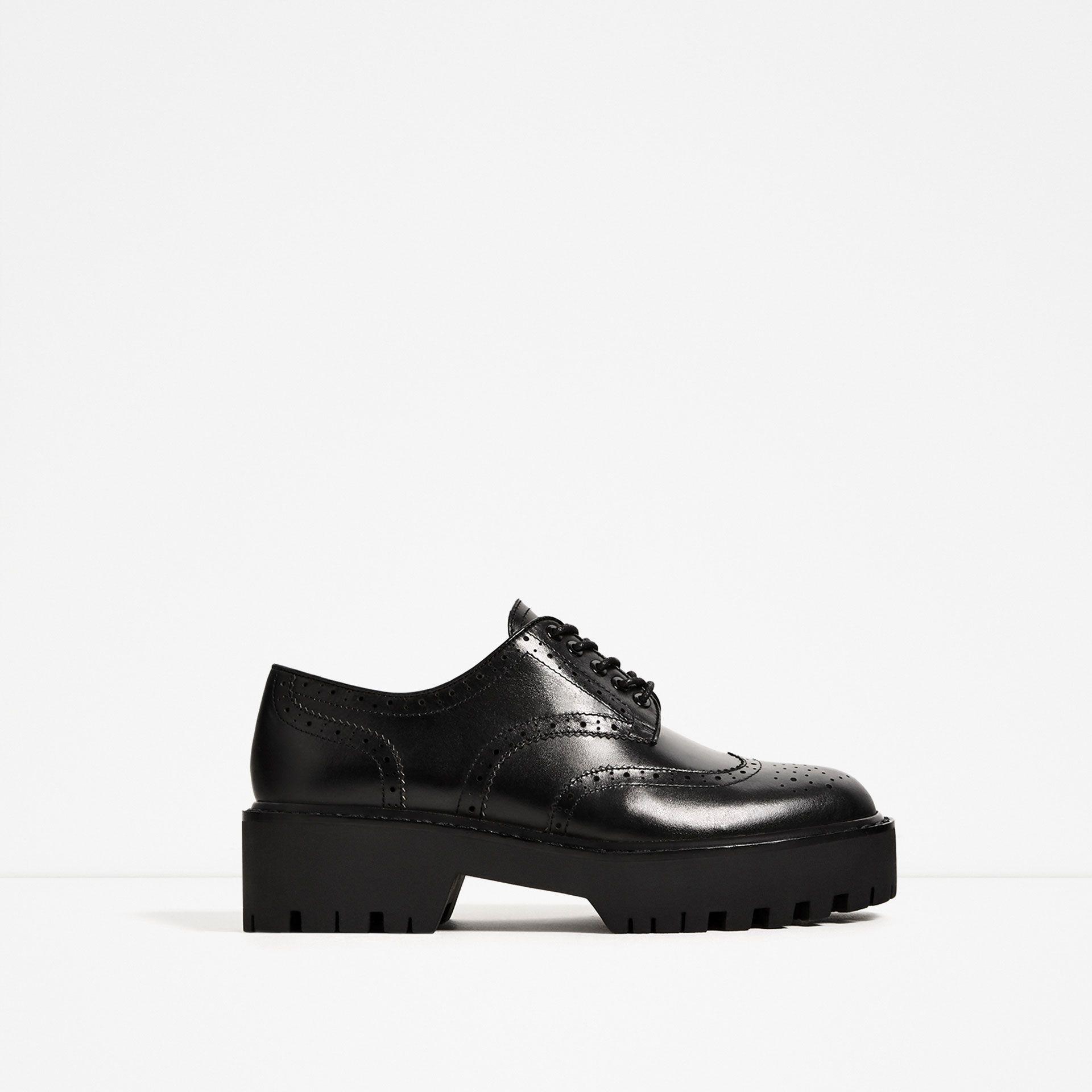 Zara Gynaikeia Dermatino Papoytsi Derby Me Diatrhto Sxedio Leather Brogues Zara Shoes