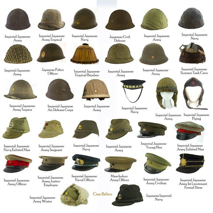 Japanese Military Head Gear Comparison Chart World War Wwii Uniforms Military Hat