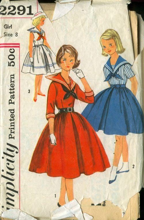 Schnittmuster für #Matrosenkleid für Mädchen ~~~~ Vintage #sailor_dress patterns.